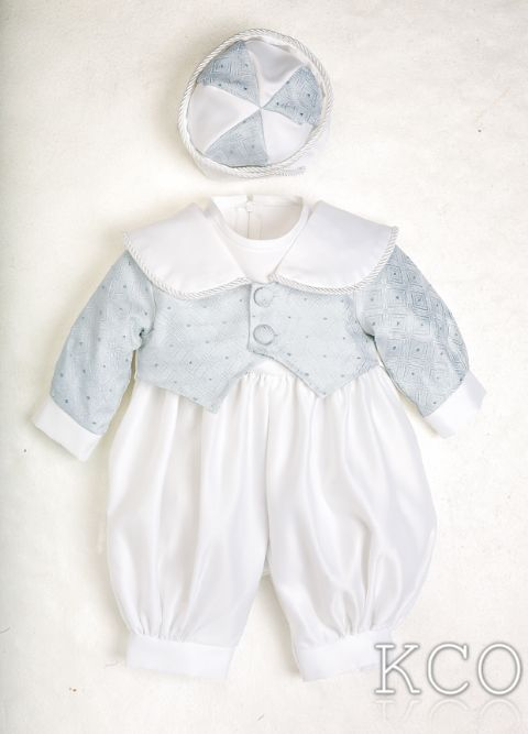 Diamond Brocade Romper Blue/White~ Boys Suits